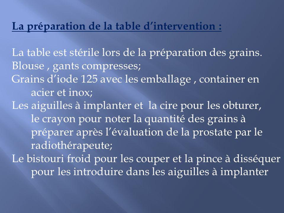 La préparation de la table dintervention : La table est stérile lors de la préparation des grains. Blouse, gants compresses; Grains diode 125 avec les
