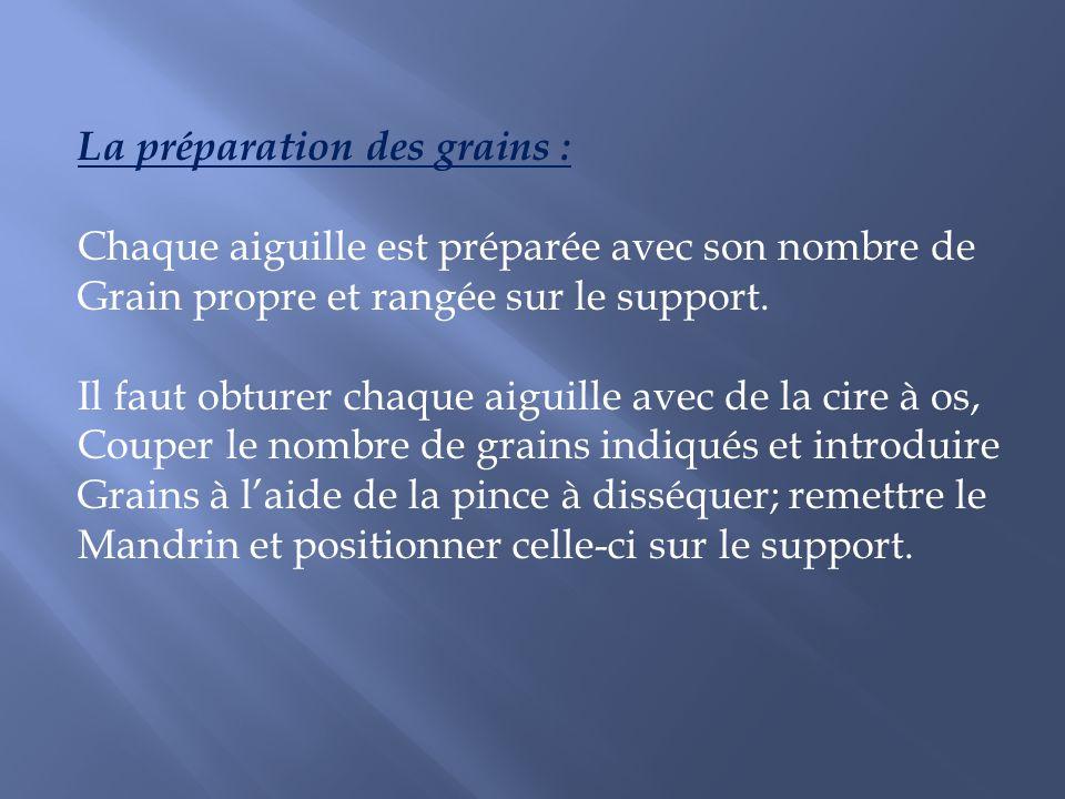 La préparation des grains : Chaque aiguille est préparée avec son nombre de Grain propre et rangée sur le support. Il faut obturer chaque aiguille ave