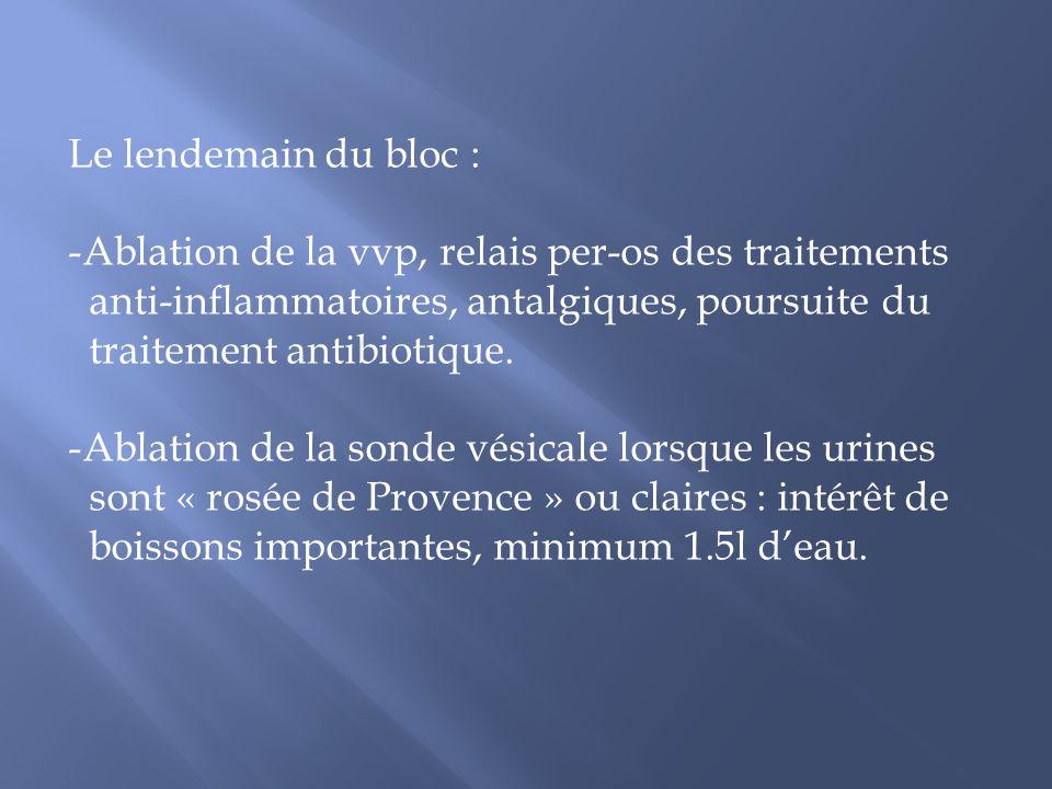 Le lendemain du bloc : -Ablation de la vvp, relais per-os des traitements anti-inflammatoires, antalgiques, poursuite du traitement antibiotique. -Abl