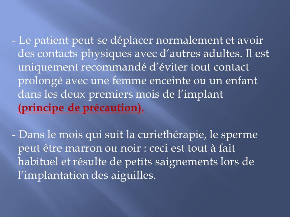 - Le patient peut se déplacer normalement et avoir des contacts physiques avec dautres adultes. Il est uniquement recommandé déviter tout contact prol