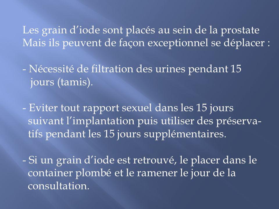 Les grain diode sont placés au sein de la prostate Mais ils peuvent de façon exceptionnel se déplacer : - Nécessité de filtration des urines pendant 1