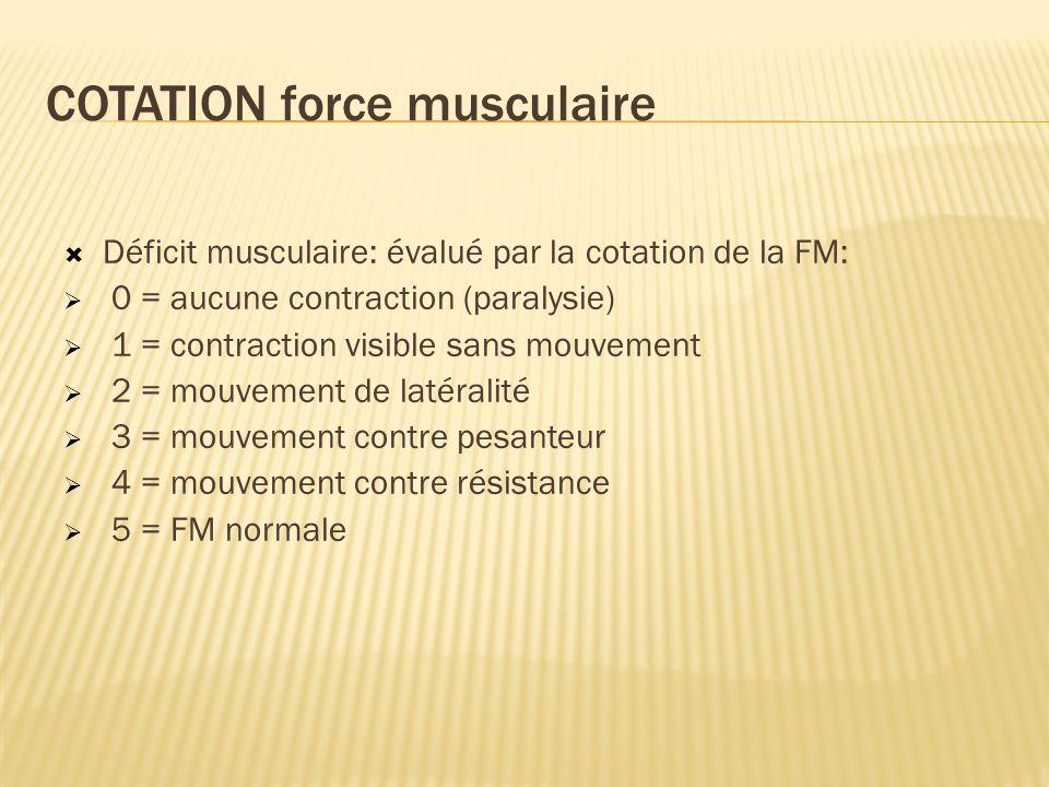 COTATION force musculaire Déficit musculaire: évalué par la cotation de la FM: 0 = aucune contraction (paralysie) 1 = contraction visible sans mouvement 2 = mouvement de latéralité 3 = mouvement contre pesanteur 4 = mouvement contre résistance 5 = FM normale