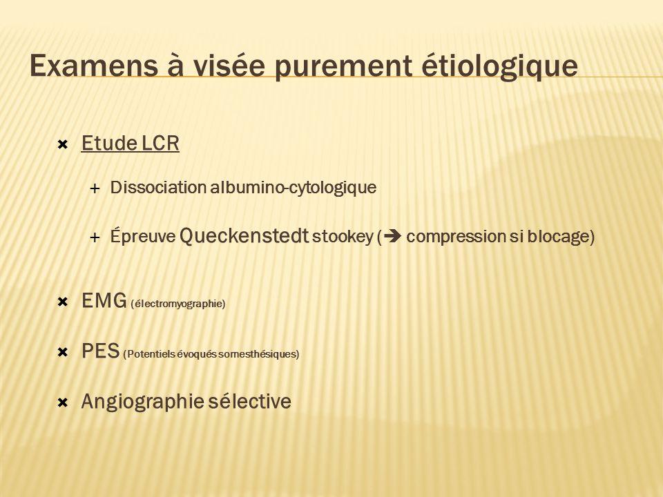 Examens à visée purement étiologique Etude LCR Dissociation albumino-cytologique Épreuve Queckenstedt stookey ( compression si blocage) EMG (électromyographie) PES (Potentiels évoqués somesthésiques) Angiographie sélective