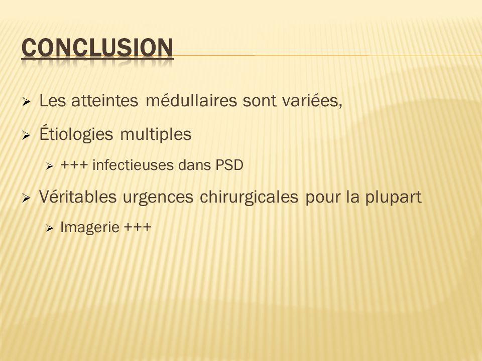 Les atteintes médullaires sont variées, Étiologies multiples +++ infectieuses dans PSD Véritables urgences chirurgicales pour la plupart Imagerie +++
