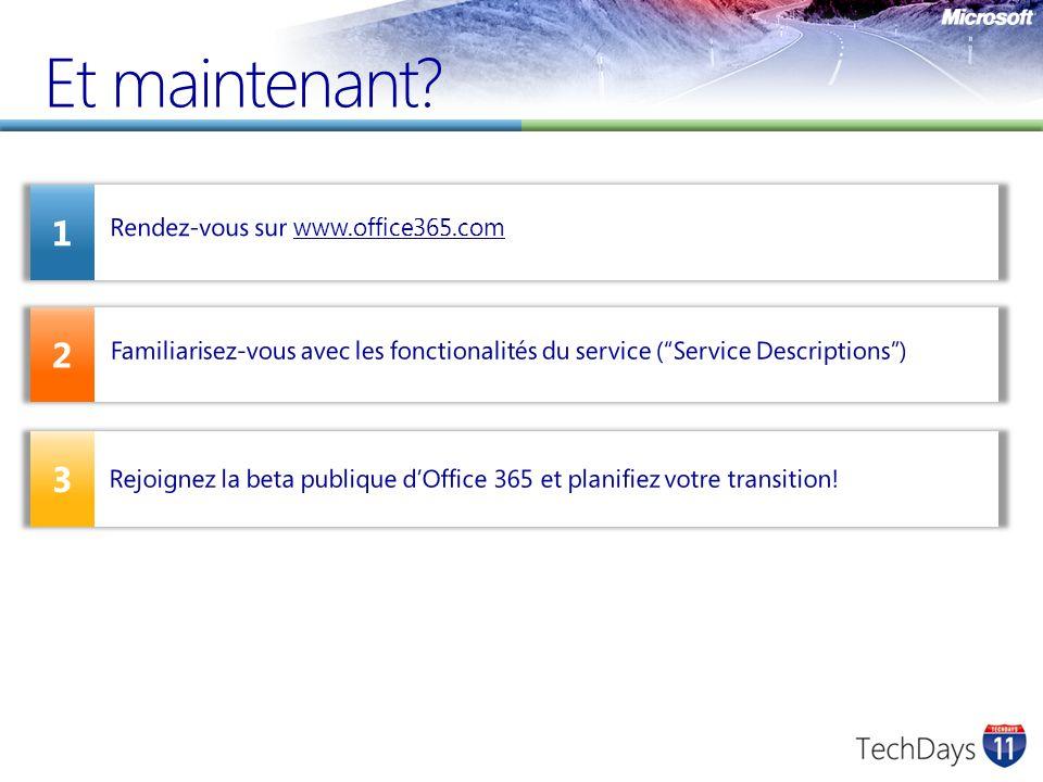 Et maintenant? 2 1 3 Rendez-vous sur www.office365.comwww.office365.com Familiarisez-vous avec les fonctionalités du service (Service Descriptions) Re