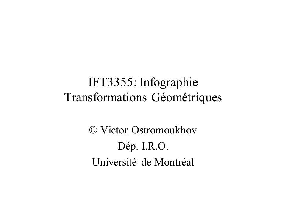 IFT3355: Infographie Transformations Géométriques © Victor Ostromoukhov Dép. I.R.O. Université de Montréal TexPoint fonts used in EMF. Read the TexPoi