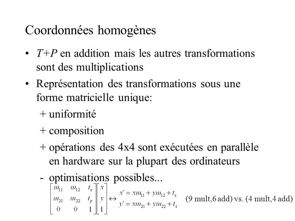 Coordonnées homogènes T+P en addition mais les autres transformations sont des multiplications Représentation des transformations sous une forme matri