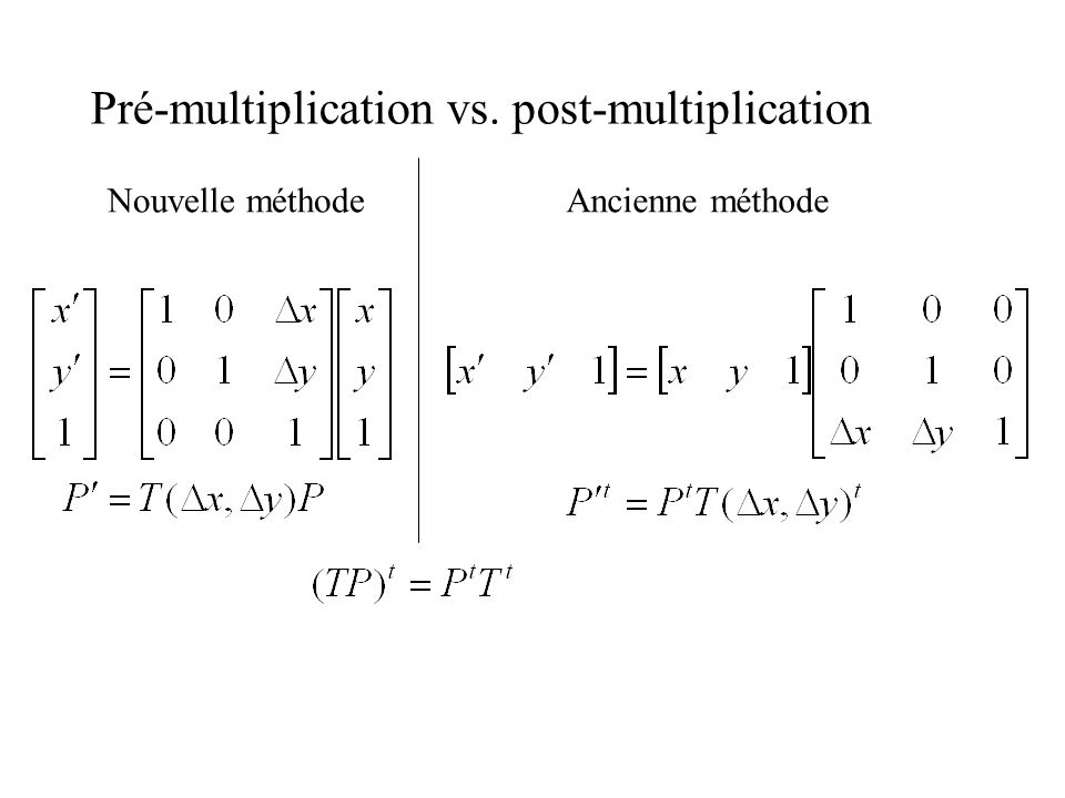 Pré-multiplication vs. post-multiplication Nouvelle méthodeAncienne méthode