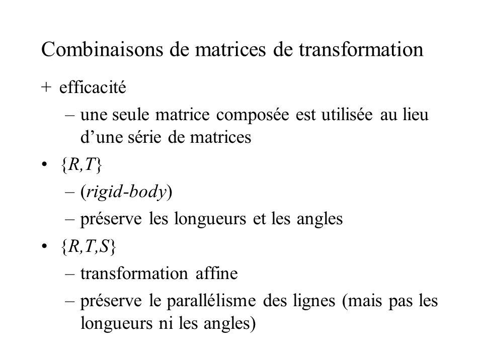 Combinaisons de matrices de transformation +efficacité –une seule matrice composée est utilisée au lieu dune série de matrices {R,T} –(rigid-body) –pr