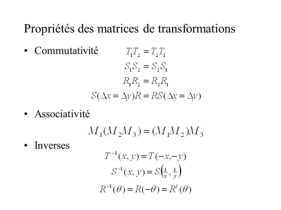Propriétés des matrices de transformations Commutativité Associativité Inverses