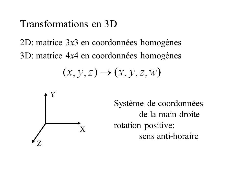 Transformations en 3D 2D: matrice 3x3 en coordonnées homogènes 3D: matrice 4x4 en coordonnées homogènes X Y Z Système de coordonnées de la main droite