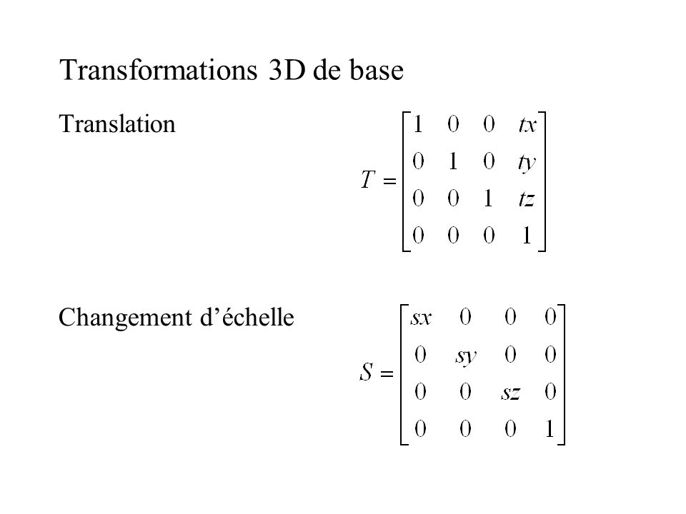 Transformations 3D de base Translation Changement déchelle