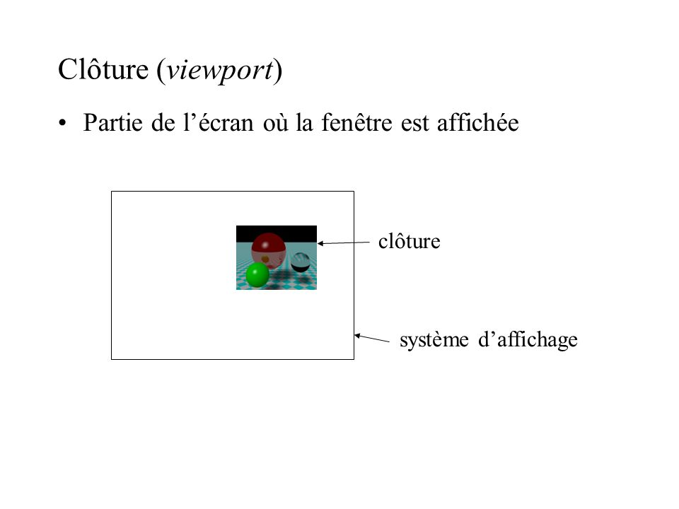 Série de transformations Modèle 3D Système de coordonnées de vue –construit un plan de vue en 3D –définit une fenêtre dans ce plan Coordonnées de vue pour chaque point en 3D Définit un clôture dans un système normalisé [0,1] Coordonnées daffichage Projection Mapping fenêtre-clôture