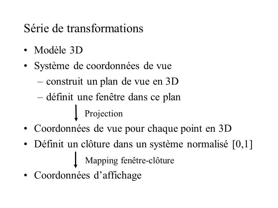 Série de transformations Modèle 3D Système de coordonnées de vue –construit un plan de vue en 3D –définit une fenêtre dans ce plan Coordonnées de vue
