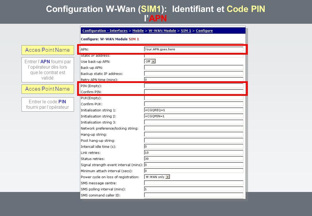 Configuration W-Wan (SIM1): Identifiant et Code PIN lAPN Acces Point Name Entrer lAPN fourni par lopérateur dès lors que le contrat est validé Entrer le code PIN fourni par lopérateur