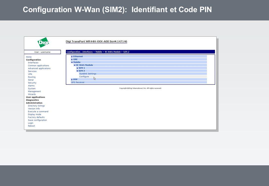 Configuration W-Wan (SIM2): Identifiant et Code PIN