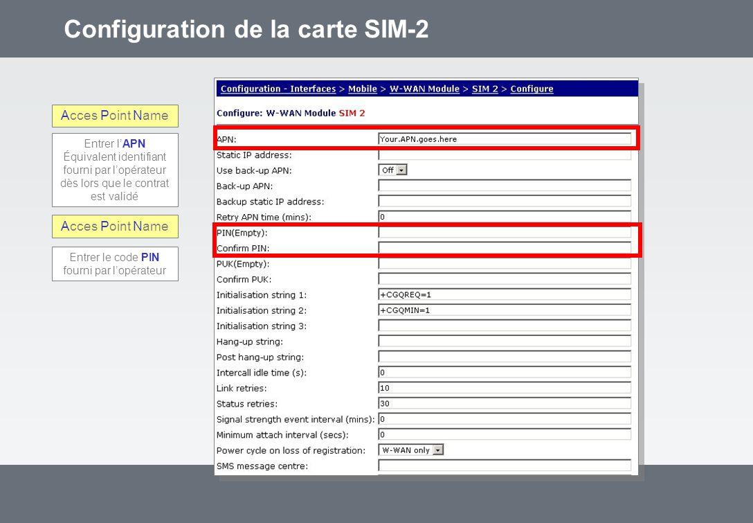 Configuration de la carte SIM-2 Acces Point Name Entrer lAPN Équivalent identifiant fourni par lopérateur dès lors que le contrat est validé Entrer le code PIN fourni par lopérateur