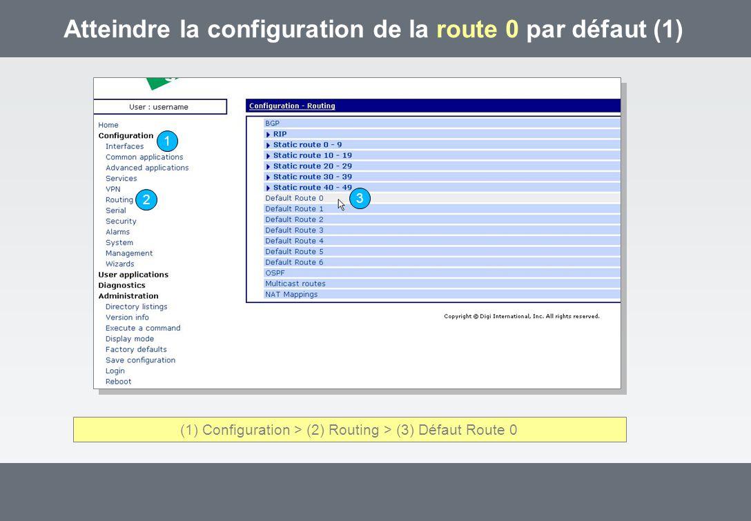 Atteindre la configuration de la route 0 par défaut (1) (1) Configuration > (2) Routing > (3) Défaut Route 0 1 2 3