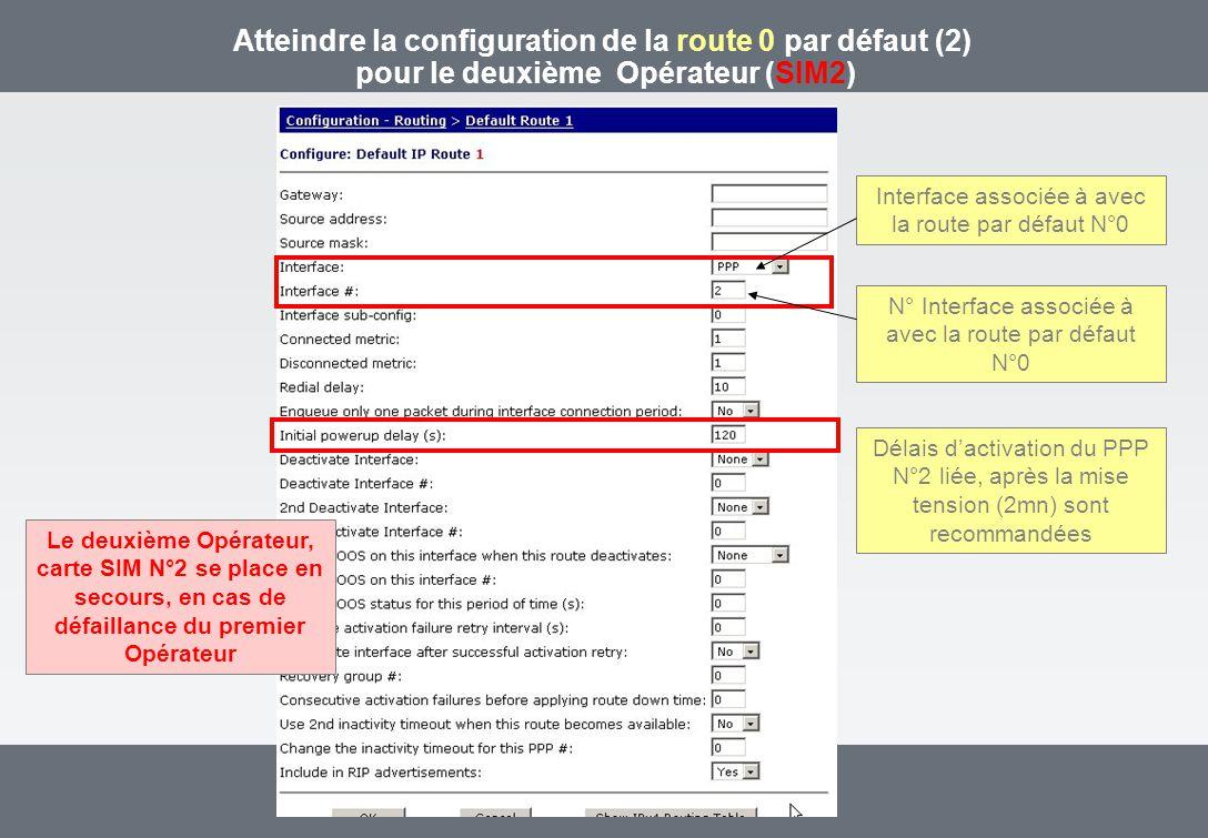 Atteindre la configuration de la route 0 par défaut (2) pour le deuxième Opérateur (SIM2) Interface associée à avec la route par défaut N°0 N° Interface associée à avec la route par défaut N°0 Délais dactivation du PPP N°2 liée, après la mise tension (2mn) sont recommandées Le deuxième Opérateur, carte SIM N°2 se place en secours, en cas de défaillance du premier Opérateur
