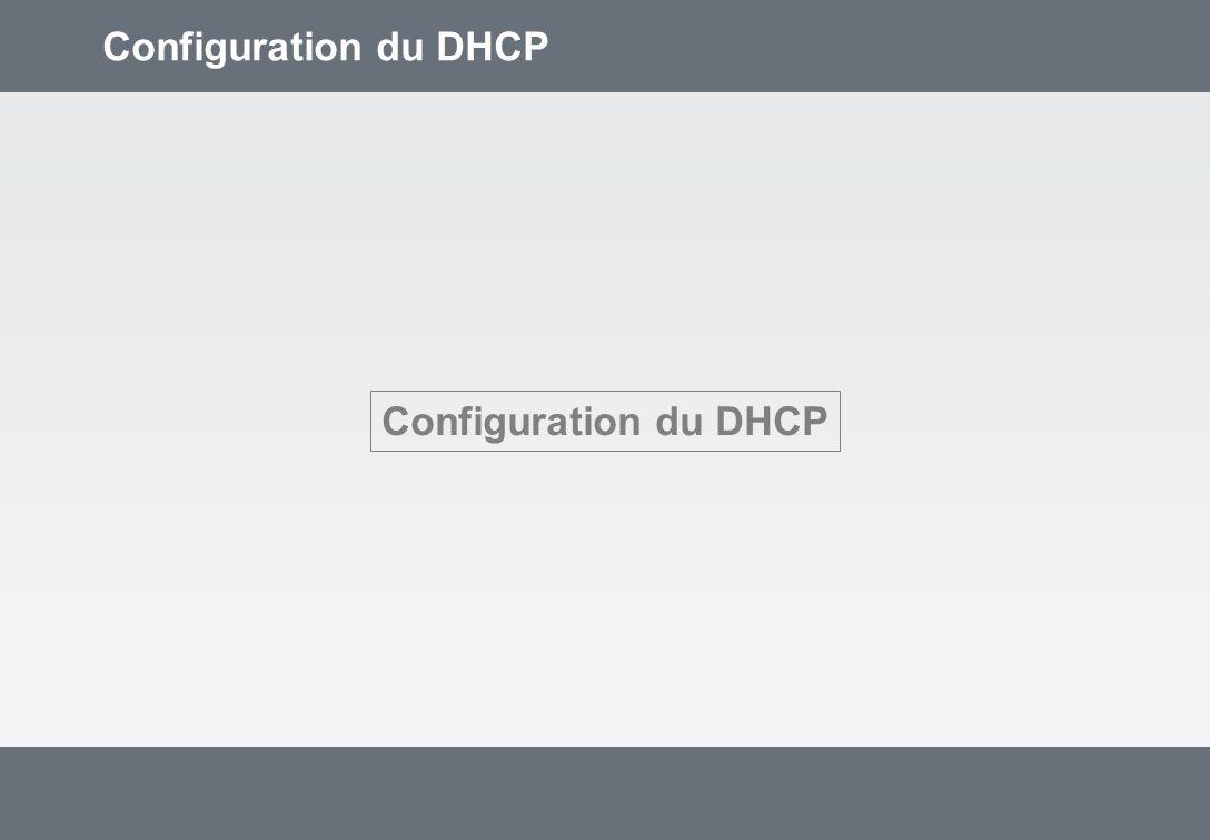 Configuration du DHCP