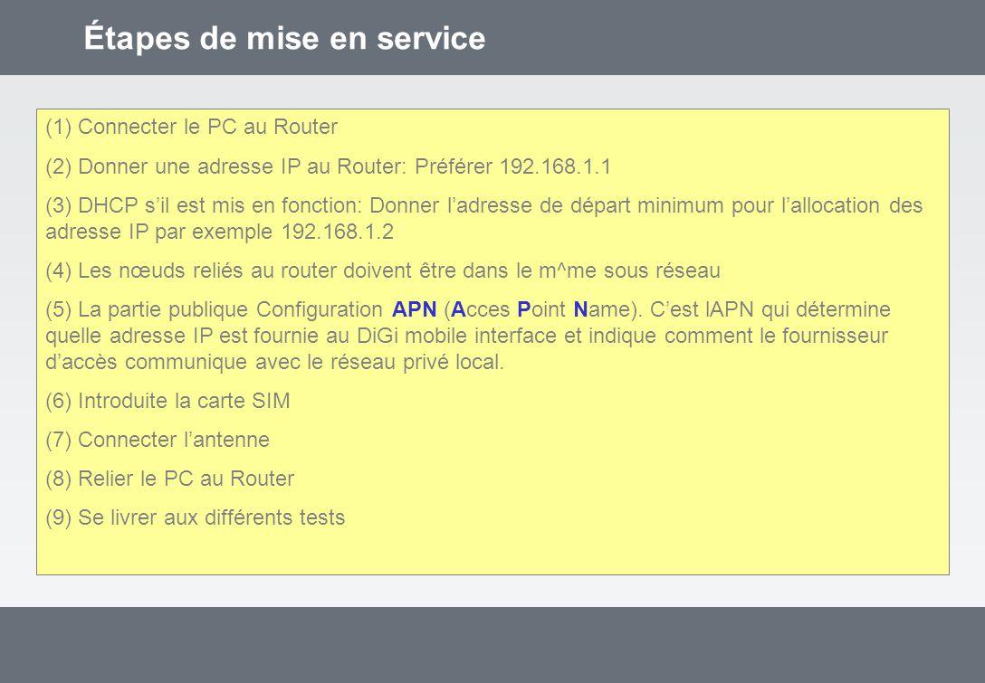 Étapes de mise en service (1) Connecter le PC au Router (2) Donner une adresse IP au Router: Préférer 192.168.1.1 (3) DHCP sil est mis en fonction: Donner ladresse de départ minimum pour lallocation des adresse IP par exemple 192.168.1.2 (4) Les nœuds reliés au router doivent être dans le m^me sous réseau (5) La partie publique Configuration APN (Acces Point Name).
