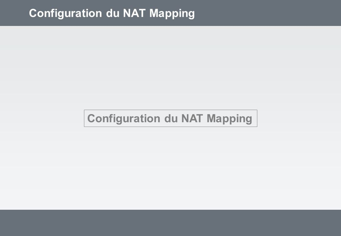 Configuration du NAT Mapping