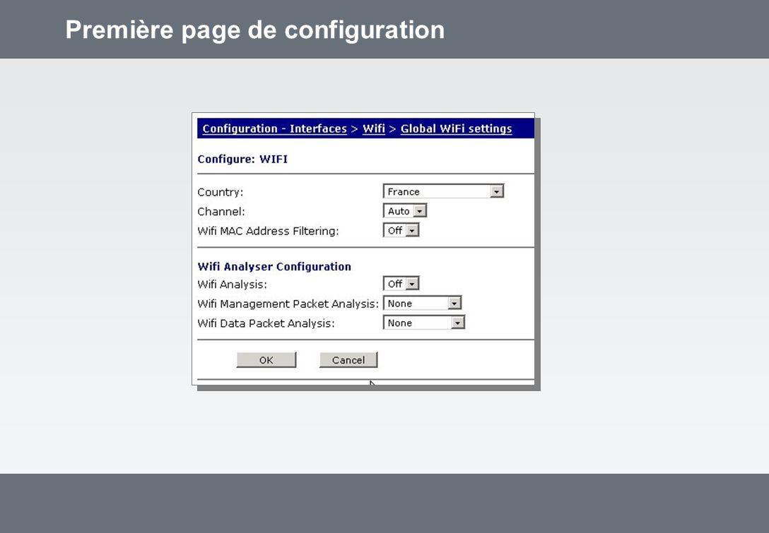 Première page de configuration