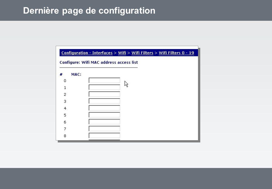 Dernière page de configuration