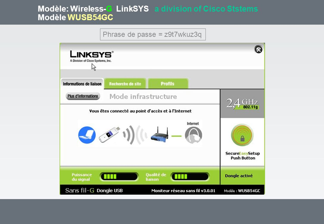 Modèle: Wireless-G LinkSYS a division of Cisco Ststems Modèle WUSB54GC Phrase de passe = z9t7wkuz3q