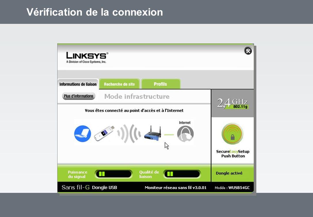 Vérification de la connexion