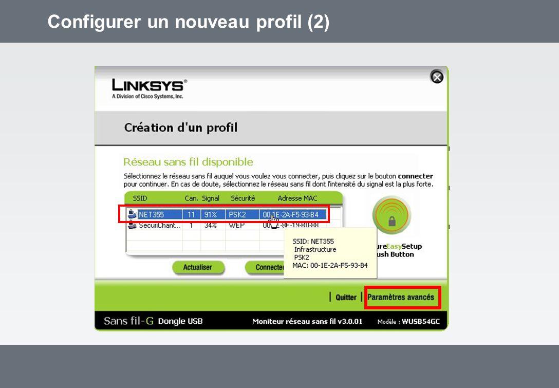 Configurer un nouveau profil (2)