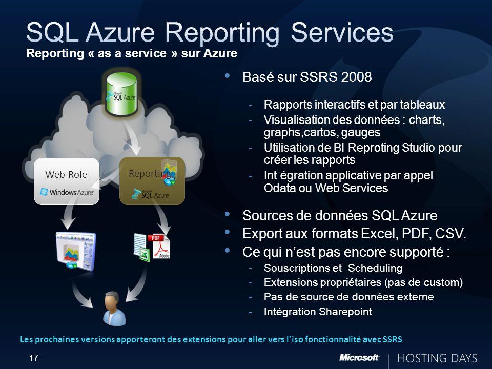 17 Web Role Reporting Basé sur SSRS 2008 Rapports interactifs et par tableaux Visualisation des données : charts, graphs,cartos, gauges Utilisation de BI Reproting Studio pour créer les rapports Int égration applicative par appel Odata ou Web Services Sources de données SQL Azure Export aux formats Excel, PDF, CSV.