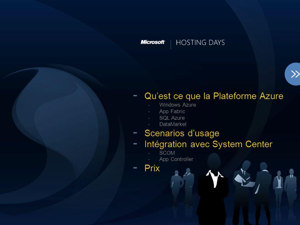 - Quest ce que la Plateforme Azure -Windows Azure -App Fabric -SQL Azure -DataMarket - Scenarios dusage - Intégration avec System Center -SCOM -App Controller - Prix