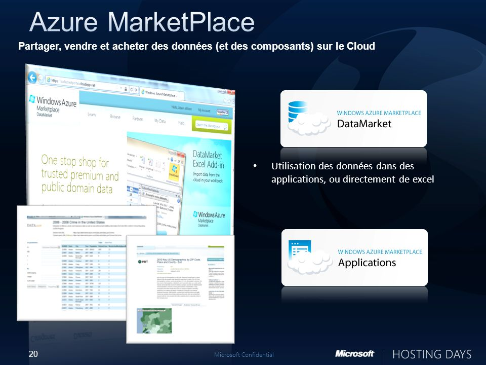 20 Microsoft Confidential Partager, vendre et acheter des données (et des composants) sur le Cloud Utilisation des données dans des applications, ou directement de excel