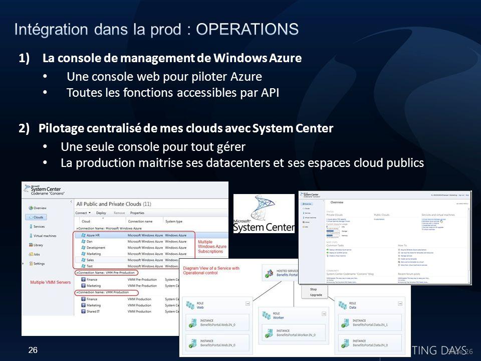 26 Microsoft Confidential Slide 26 1)La console de management de Windows Azure Une console web pour piloter Azure Toutes les fonctions accessibles par API 2) Pilotage centralisé de mes clouds avec System Center Une seule console pour tout gérer La production maitrise ses datacenters et ses espaces cloud publics