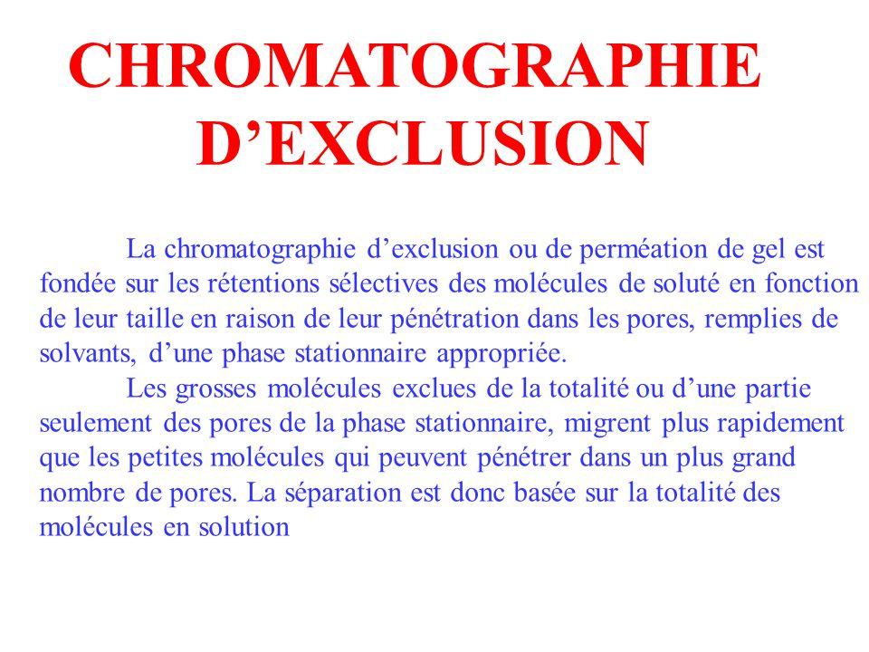 La chromatographie d exclusion ou de perméation de gel est fondée sur les rétentions sélectives des molécules de soluté en fonction de leur taille en