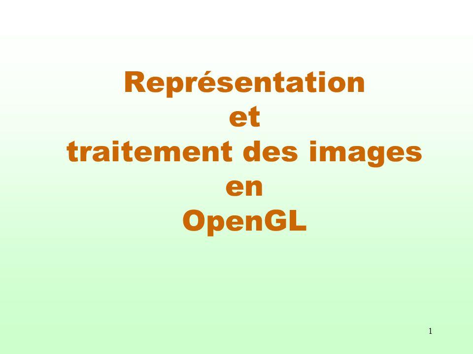 12 glCopyPixels( GLint x, GLint y, GLsizei Nb_de_lignes, GLsizei Nb_de_colonnes, GLenum tampon); Permet de copier une région rectangulaire de la mémoire dentretien de dimension Nb_de_lignes X Nb_de_colonnes dont le coin inférieur gauche est en position (x, y) dans une autre région de la mémoire dentretien de même dimension dont le coin inférieur gauche correspond au « pixel » à la position courante.