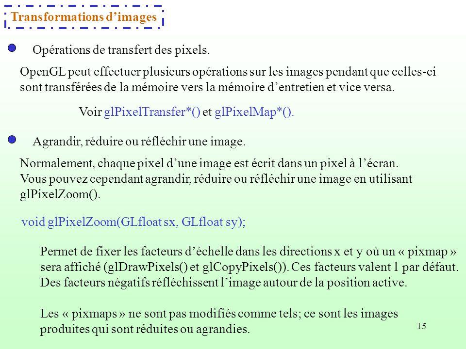 15 Agrandir, réduire ou réfléchir une image. Permet de fixer les facteurs déchelle dans les directions x et y où un « pixmap » sera affiché (glDrawPix