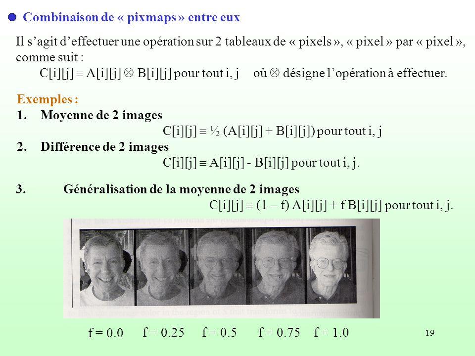 19 Combinaison de « pixmaps » entre eux Il sagit deffectuer une opération sur 2 tableaux de « pixels », « pixel » par « pixel », comme suit : C[i][j]