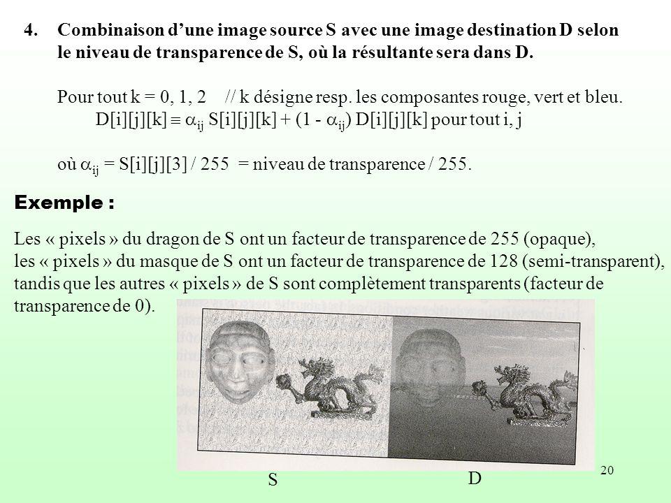 20 4.Combinaison dune image source S avec une image destination D selon le niveau de transparence de S, où la résultante sera dans D. Pour tout k = 0,