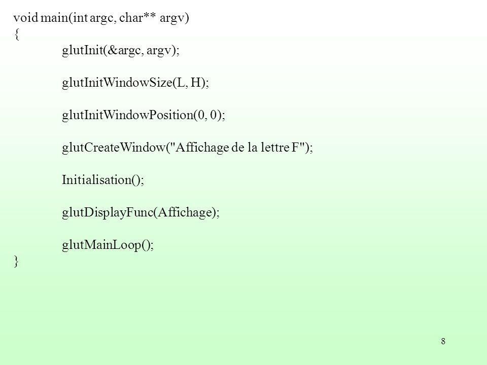 8 void main(int argc, char** argv) { glutInit(&argc, argv); glutInitWindowSize(L, H); glutInitWindowPosition(0, 0); glutCreateWindow(
