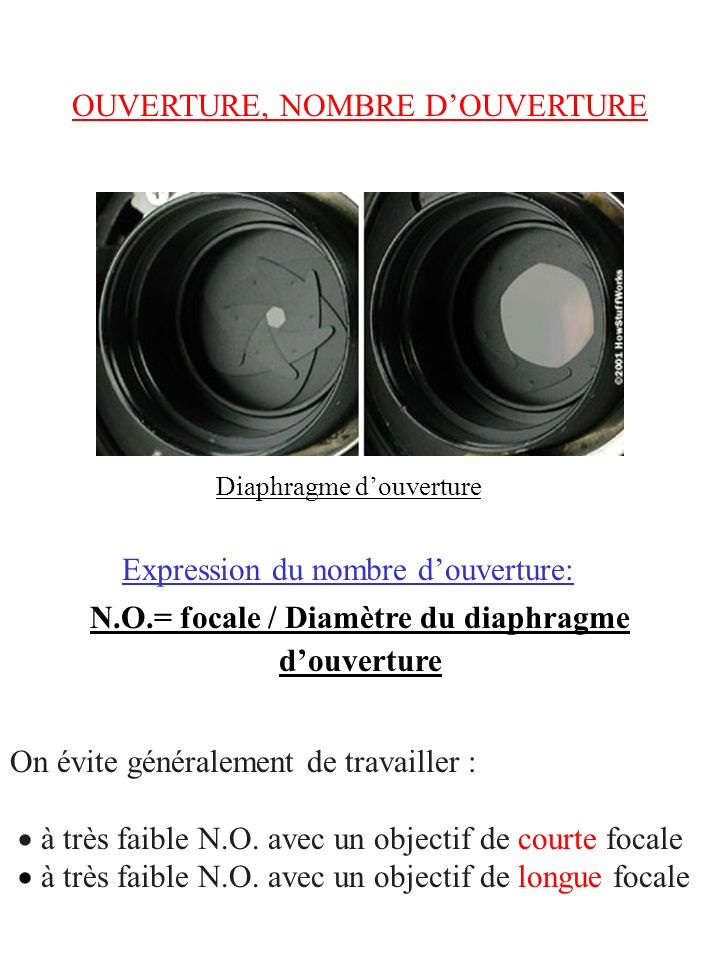 OUVERTURE, NOMBRE DOUVERTURE N.O.= focale / Diamètre du diaphragme douverture Expression du nombre douverture: Diaphragme douverture On évite générale