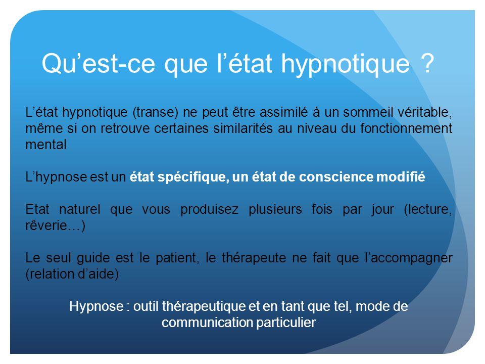 Quest-ce que létat hypnotique ? Létat hypnotique (transe) ne peut être assimilé à un sommeil véritable, même si on retrouve certaines similarités au n
