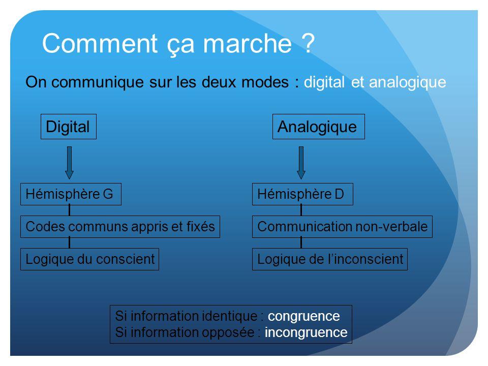 Comment ça marche ? On communique sur les deux modes : digital et analogique Digital Hémisphère G Codes communs appris et fixés Logique du conscient A