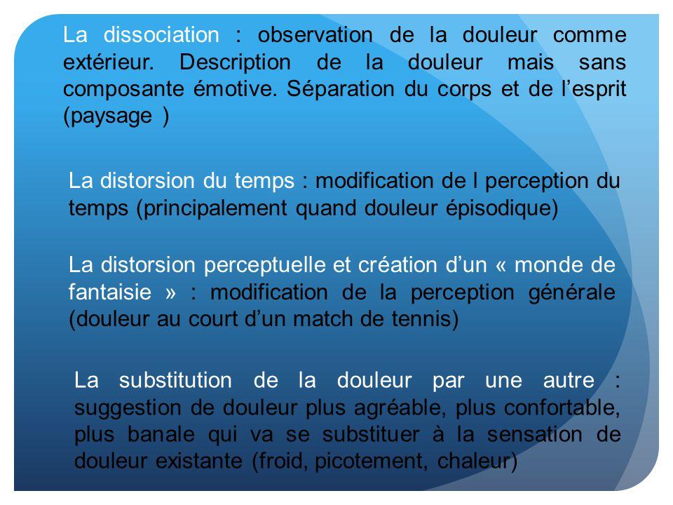 La dissociation : observation de la douleur comme extérieur. Description de la douleur mais sans composante émotive. Séparation du corps et de lesprit