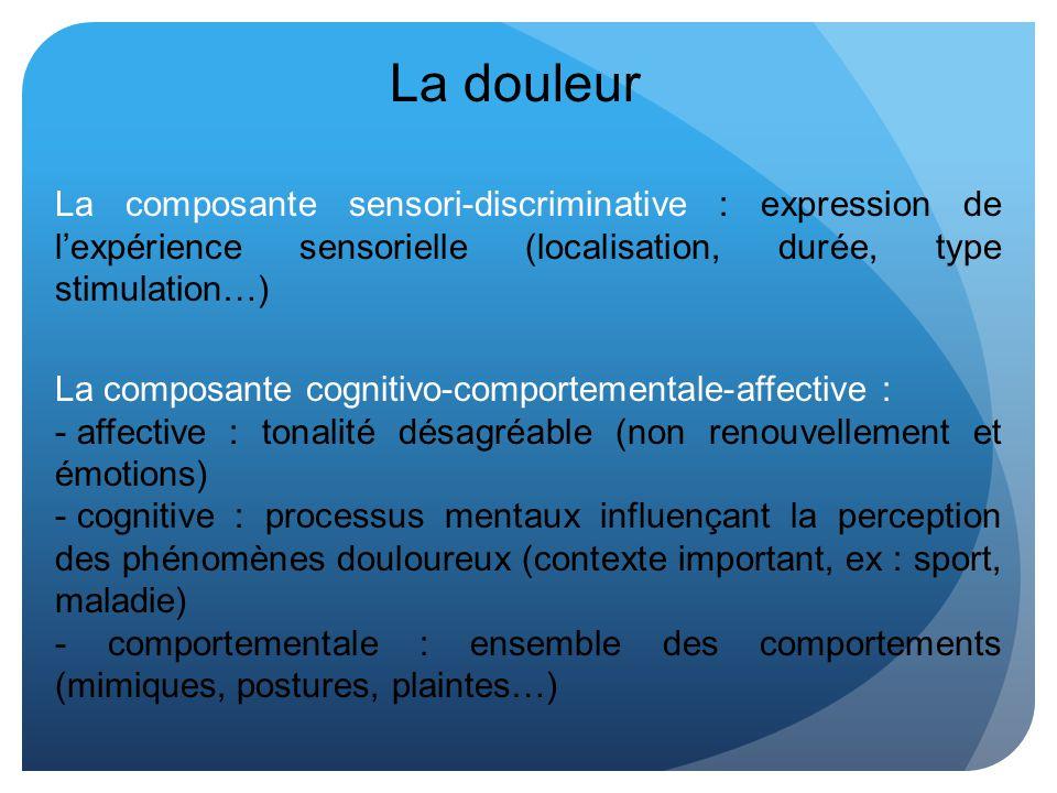 La douleur La composante sensori-discriminative : expression de lexpérience sensorielle (localisation, durée, type stimulation…) La composante cogniti