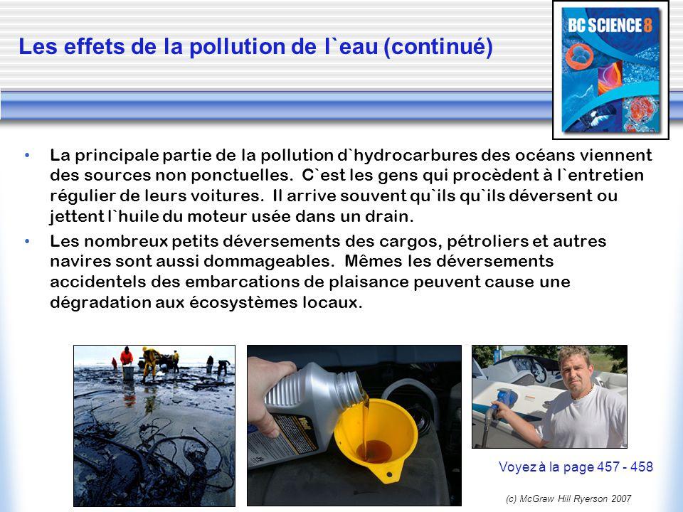 (c) McGraw Hill Ryerson 2007 La principale partie de la pollution d`hydrocarbures des océans viennent des sources non ponctuelles. C`est les gens qui