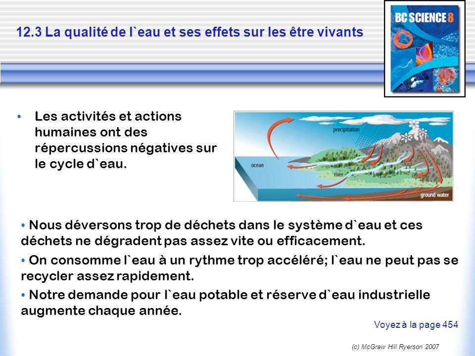 (c) McGraw Hill Ryerson 2007 12.3 La qualité de l`eau et ses effets sur les être vivants Les activités et actions humaines ont des répercussions négat