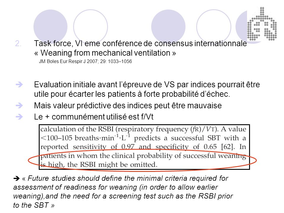 « Future studies should define the minimal criteria required for assessment of readiness for weaning (in order to allow earlier weaning),and the need for a screening test such as the RSBI prior to the SBT » 2.Task force, VI eme conférence de consensus internationnale « Weaning from mechanical ventilation » JM Boles Eur Respir J 2007; 29: 1033–1056 Evaluation initiale avant lépreuve de VS par indices pourrait être utile pour écarter les patients à forte probabilité déchec.