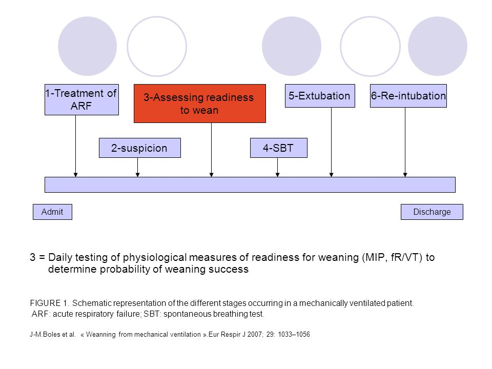Admit Discharge 1-Treatment of ARF 3-Assessing readiness to wean 5-Extubation6-Re-intubation 2-suspicion4-SBT 3 = Daily testing of physiological measures of readiness for weaning (MIP, fR/VT) to determine probability of weaning success FIGURE 1.